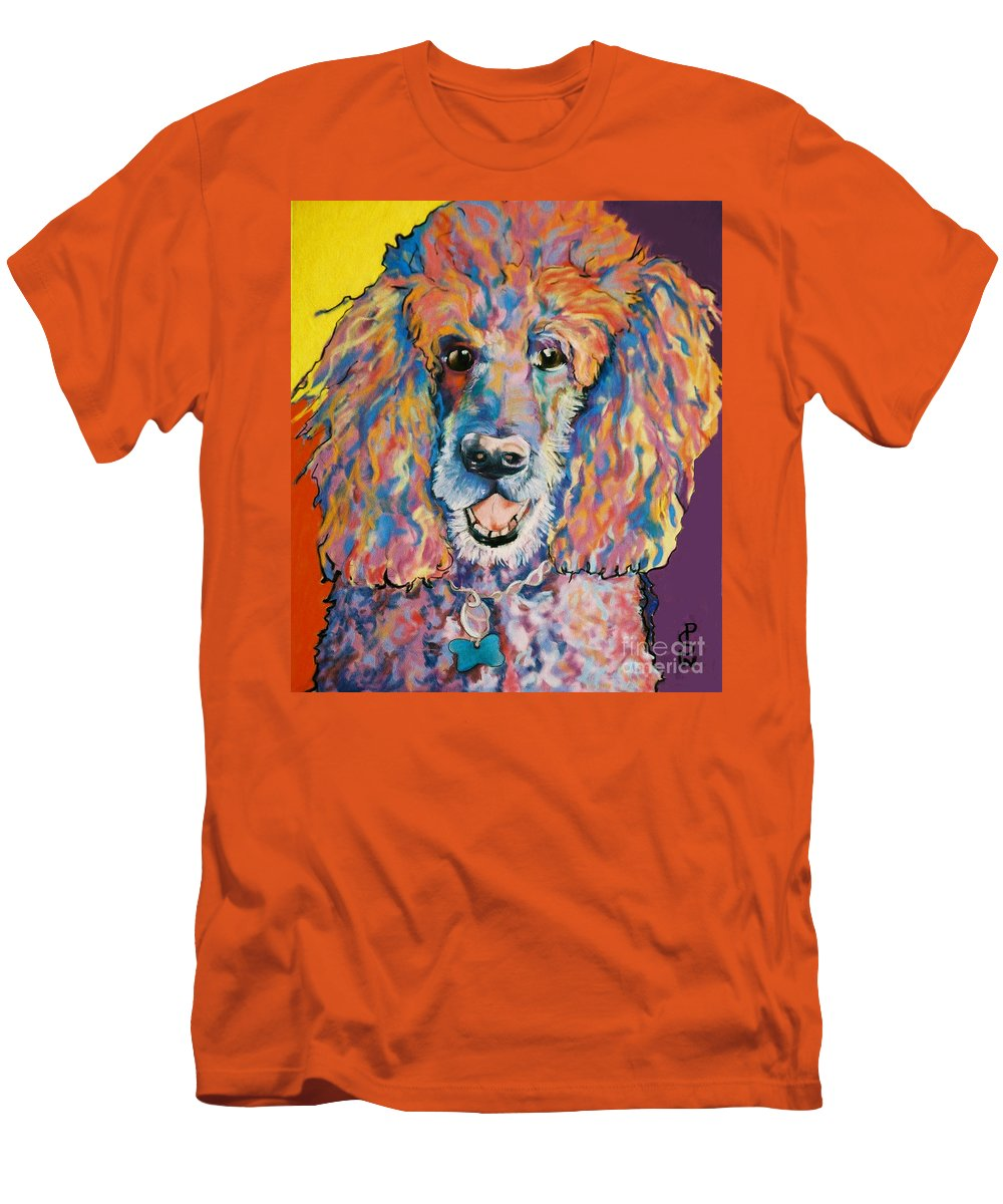 Standard Poodle Men's T-Shirt (Athletic Fit) featuring the painting Cole by Pat Saunders-White