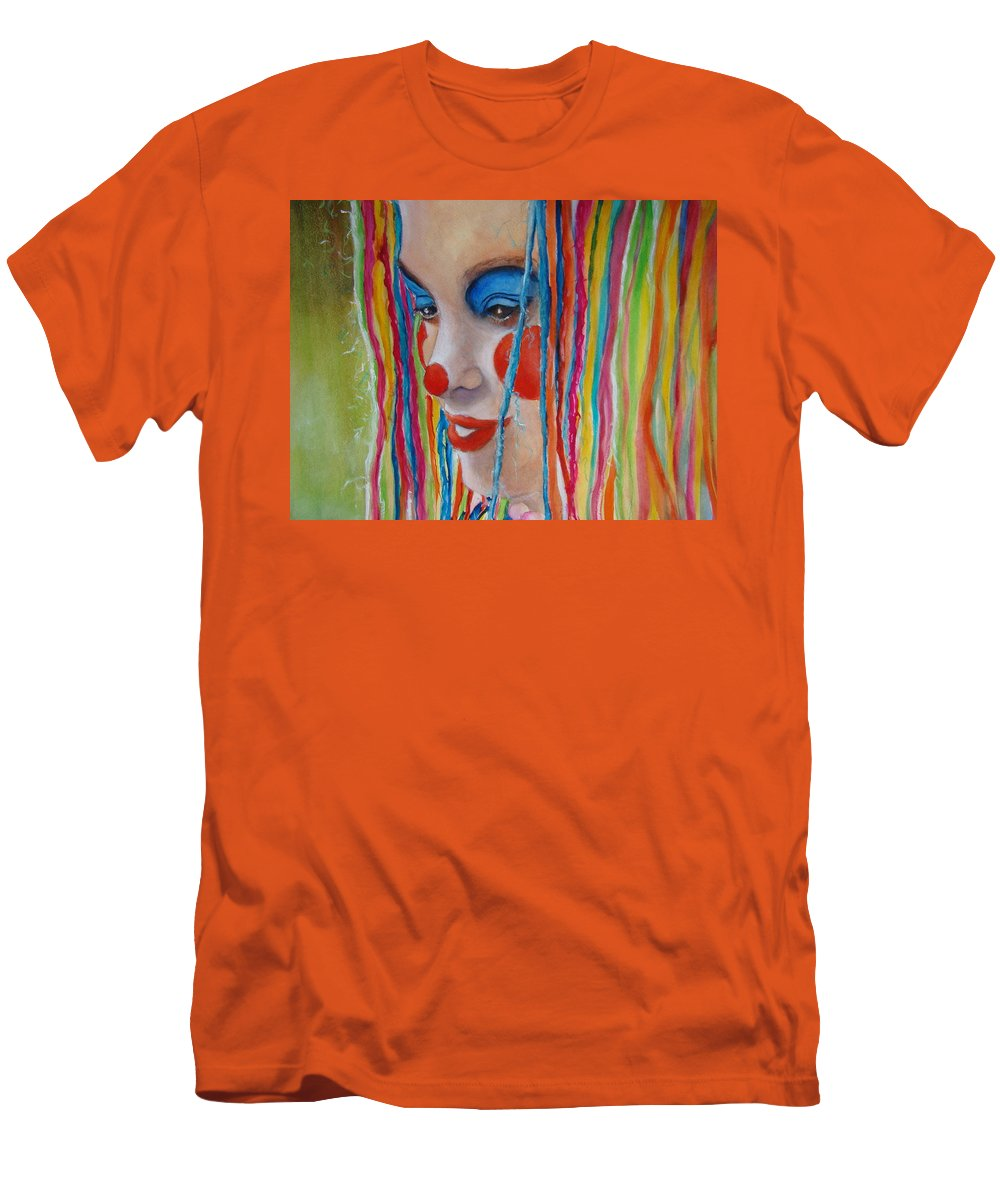 Clowns Men's T-Shirt (Athletic Fit) featuring the painting Complementary by Myra Evans