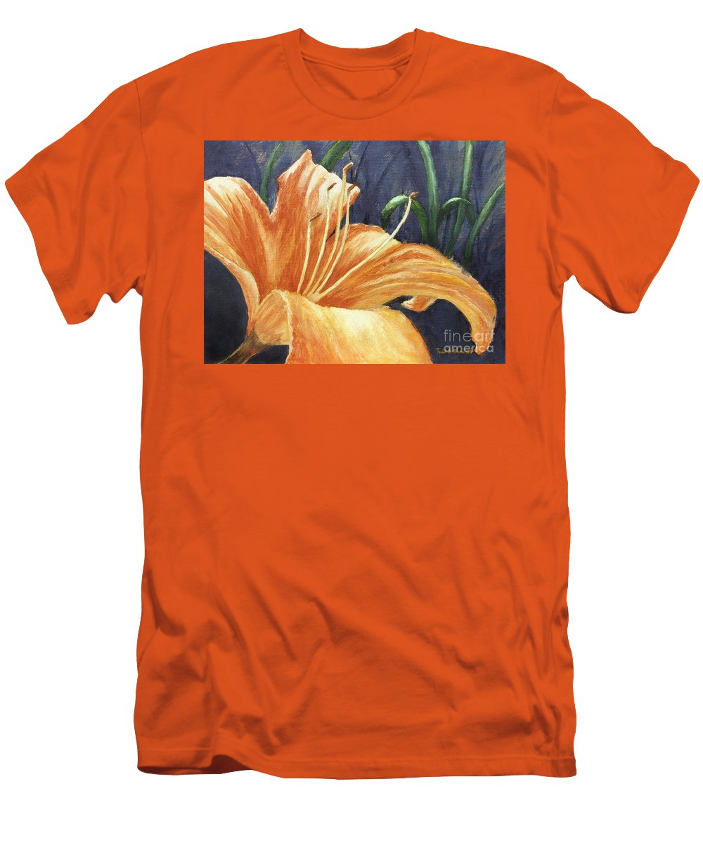 Flower Men's T-Shirt (Athletic Fit) featuring the painting Daylily by Todd A Blanchard