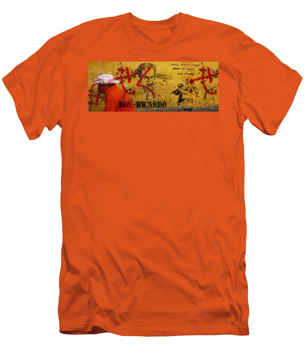 Grafitti Men's T-Shirt (Athletic Fit) featuring the photograph Don-ricardo by Skip Hunt