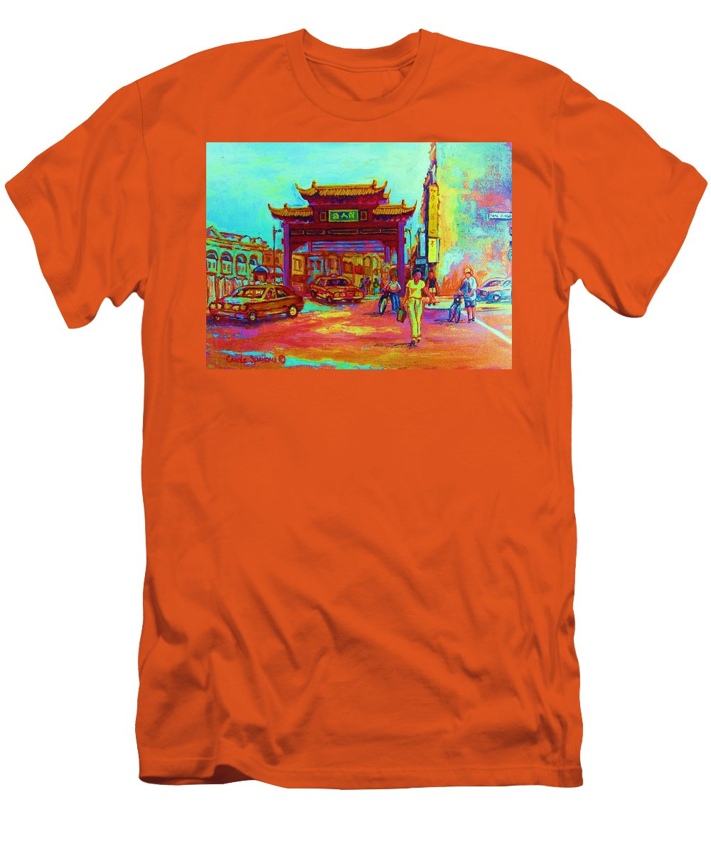 Montreal Men's T-Shirt (Athletic Fit) featuring the painting Entrance To Chinatown by Carole Spandau