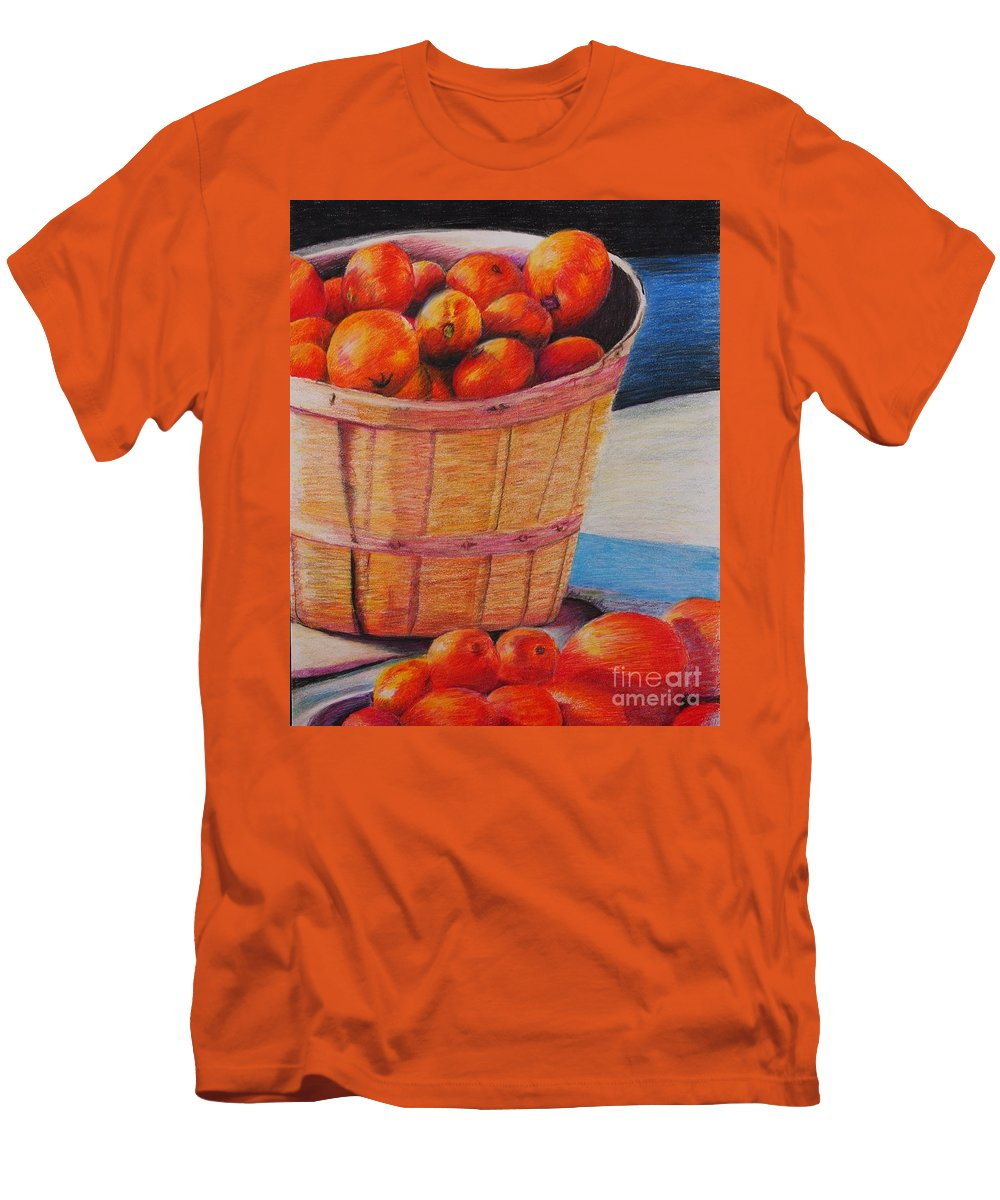 Produce In A Basket Men's T-Shirt (Athletic Fit) featuring the drawing Farmers Market Produce by Nadine Rippelmeyer