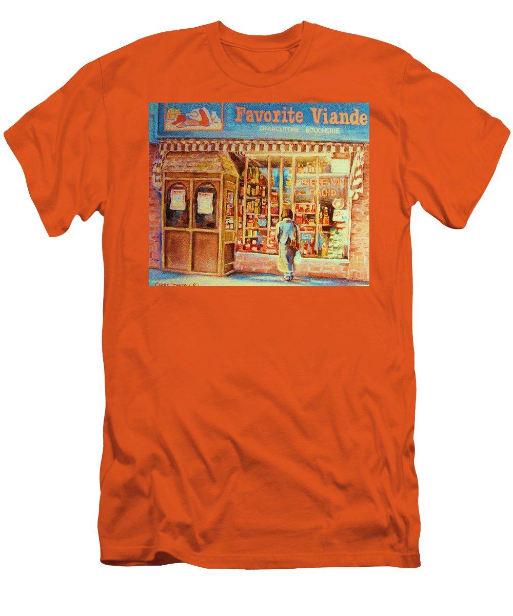 Markets Men's T-Shirt (Athletic Fit) featuring the painting Favorite Viande Market by Carole Spandau