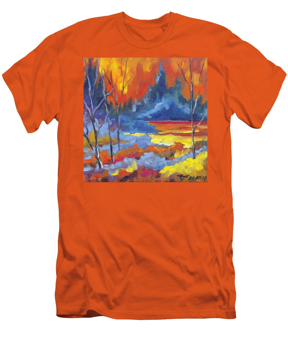 Art Men's T-Shirt (Athletic Fit) featuring the painting Fire Lake by Richard T Pranke