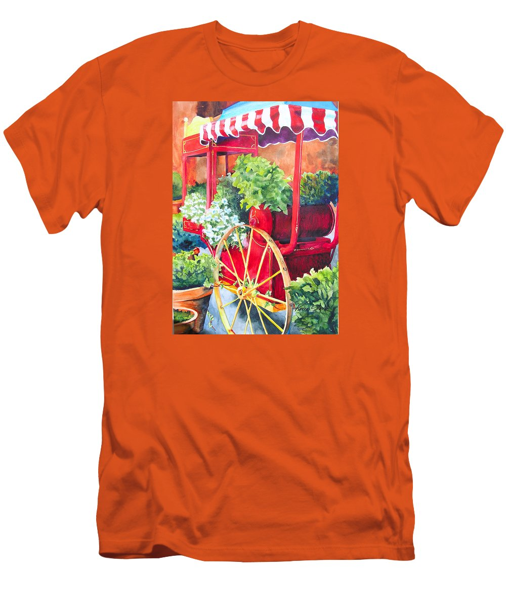Floral Men's T-Shirt (Athletic Fit) featuring the painting Flower Wagon by Karen Stark
