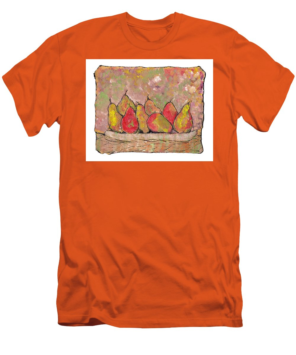 Pears Men's T-Shirt (Athletic Fit) featuring the painting Four Pair Of Pears by Wayne Potrafka