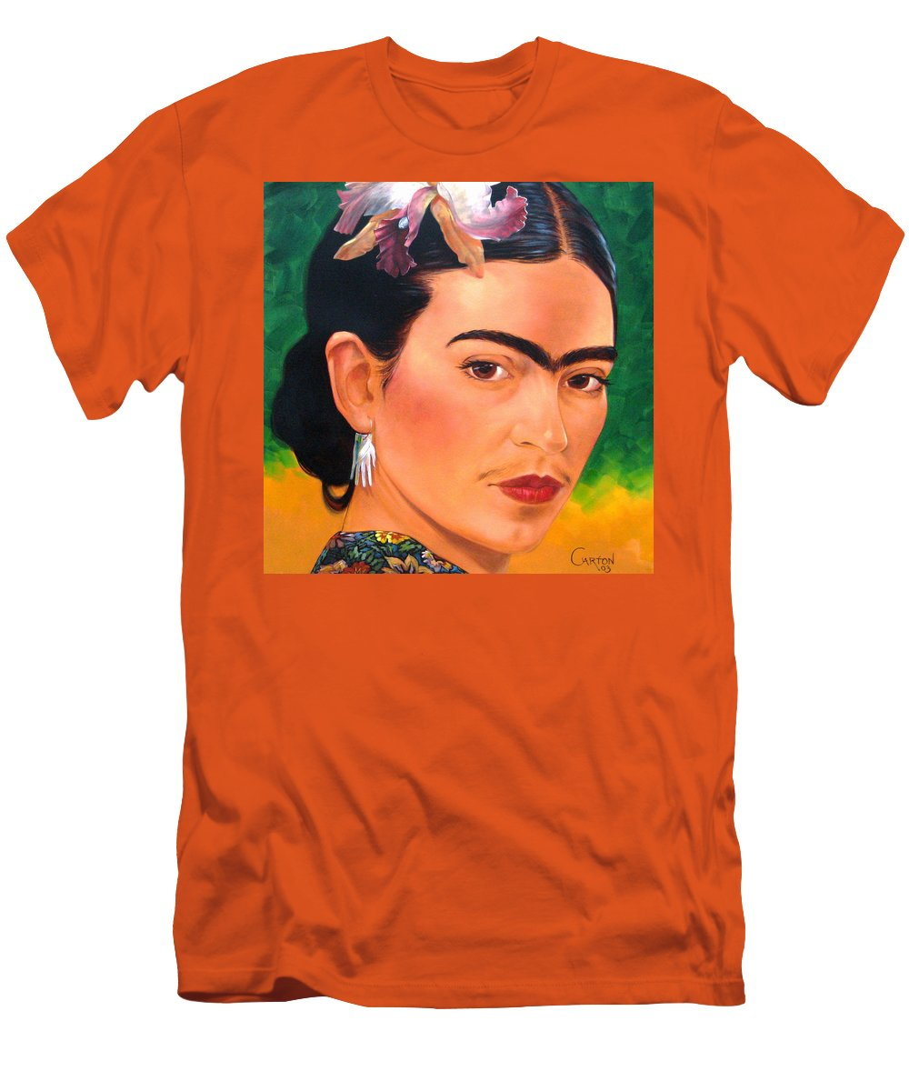 Frida Kahlo Men's T-Shirt (Athletic Fit) featuring the painting Frida Kahlo 2003 by Jerrold Carton
