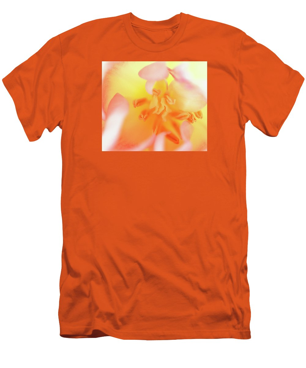 Internal Beauty Of A Tulip Men's T-Shirt (Athletic Fit) featuring the photograph From The Heart by Bill Morgenstern