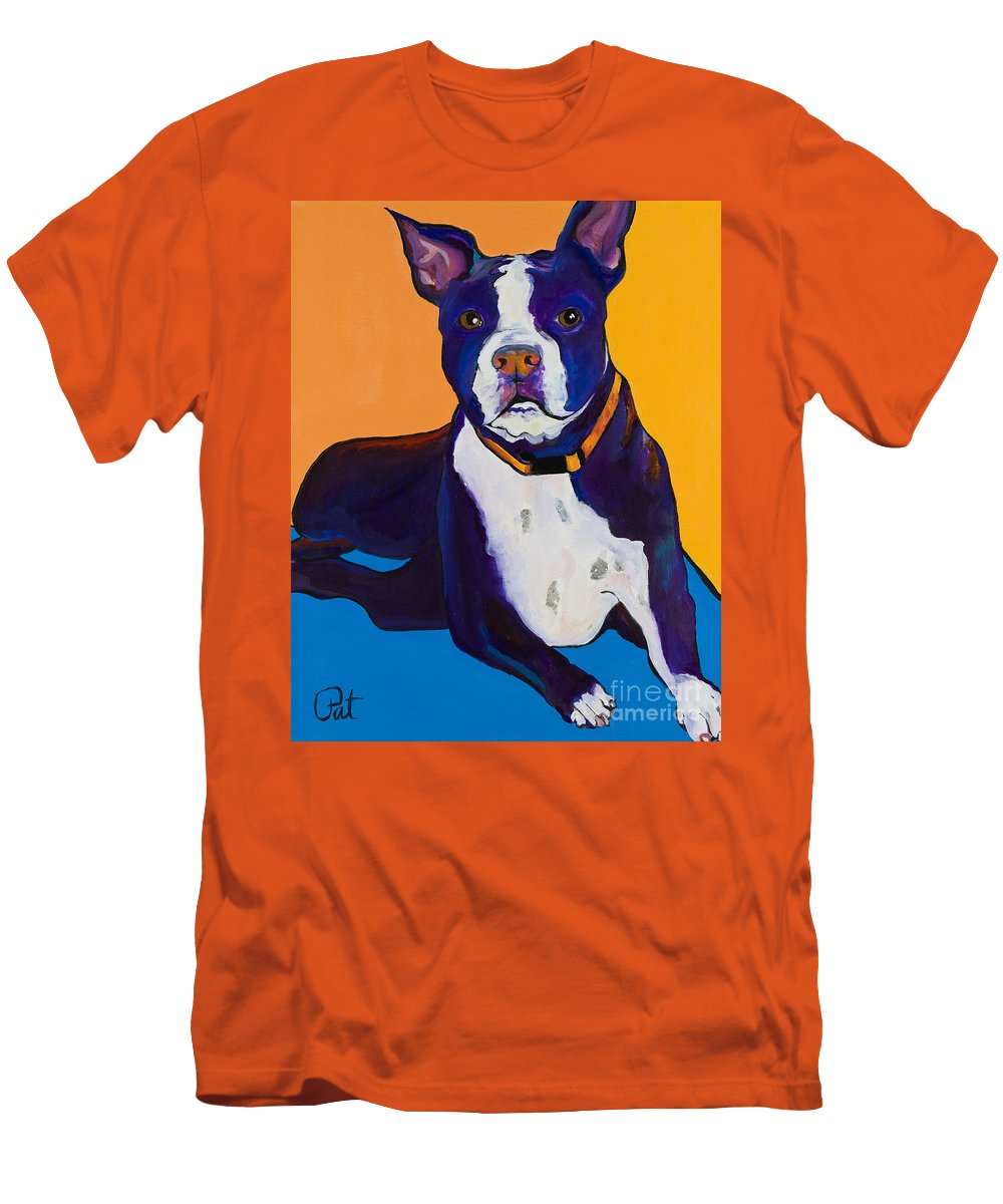 Boston Terrier Men's T-Shirt (Athletic Fit) featuring the painting Georgie by Pat Saunders-White
