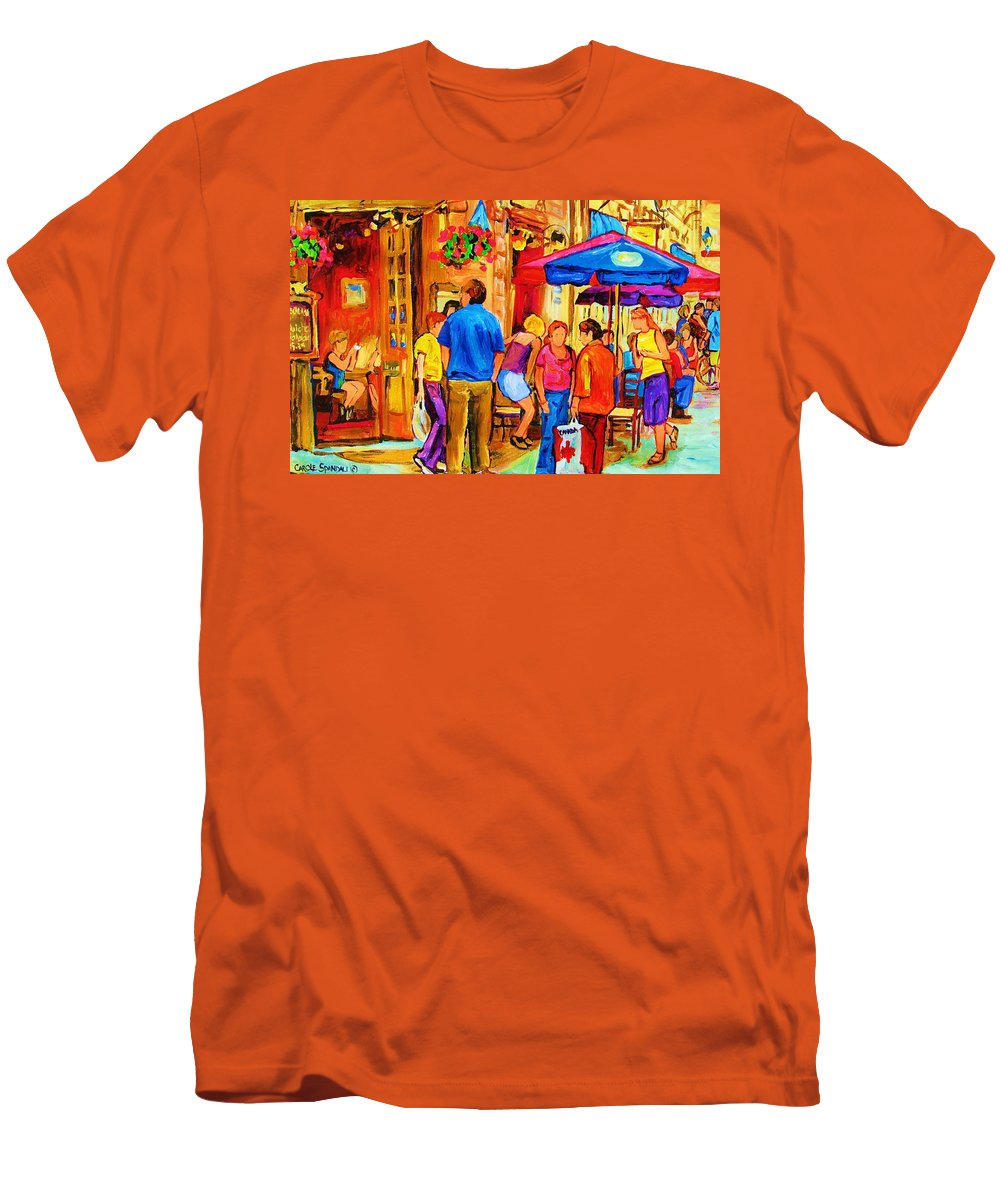 Montreal Cafe Scenes Men's T-Shirt (Athletic Fit) featuring the painting Girl In The Cafe by Carole Spandau
