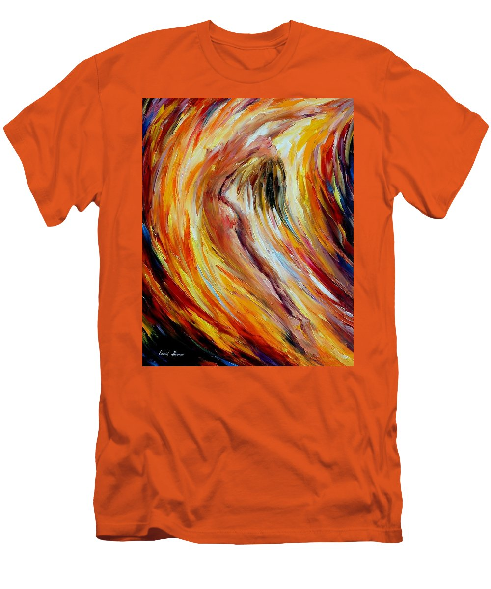 Nude Men's T-Shirt (Athletic Fit) featuring the painting Gold Falls by Leonid Afremov