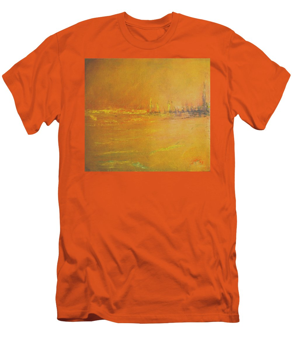 Ships Men's T-Shirt (Athletic Fit) featuring the painting Golden Sky by Jack Diamond