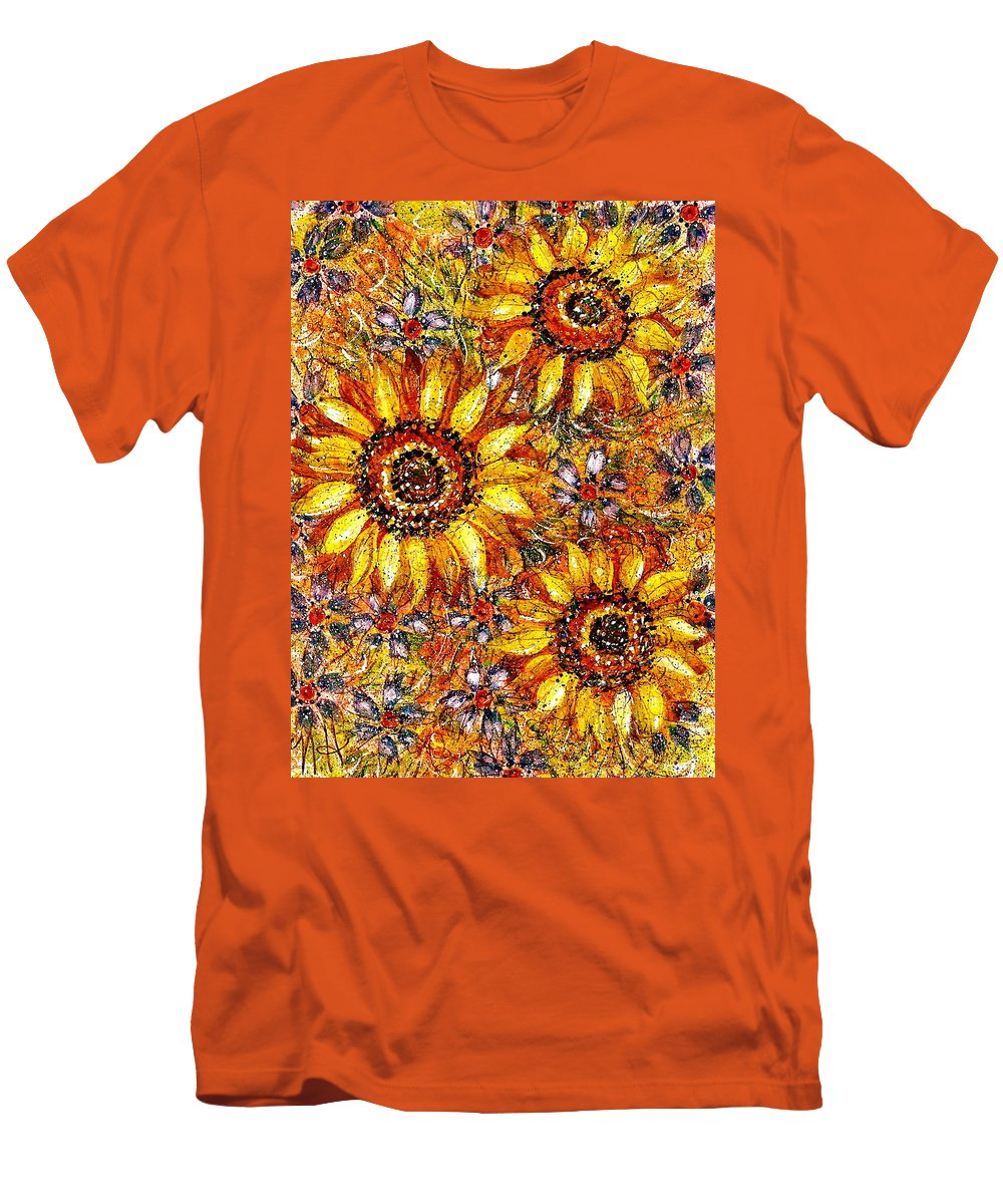Sunflowers Men's T-Shirt (Athletic Fit) featuring the painting Golden Sunflower by Natalie Holland