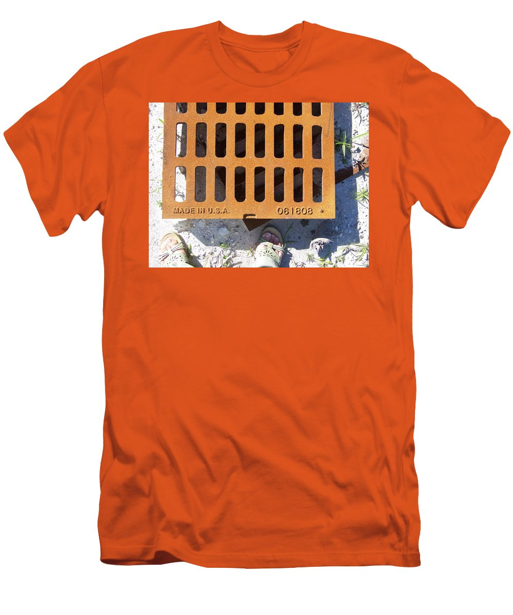 Pattern Men's T-Shirt (Athletic Fit) featuring the photograph Grate In Summer Sun by Laurie Paci