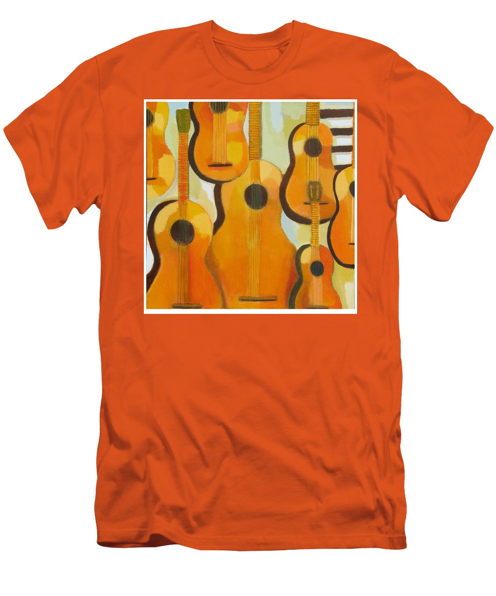 Abstract Men's T-Shirt (Athletic Fit) featuring the painting Guitars by Habib Ayat