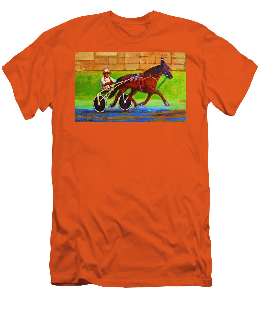 Harness Racing Men's T-Shirt (Athletic Fit) featuring the painting Harness Racing At Bluebonnets by Carole Spandau