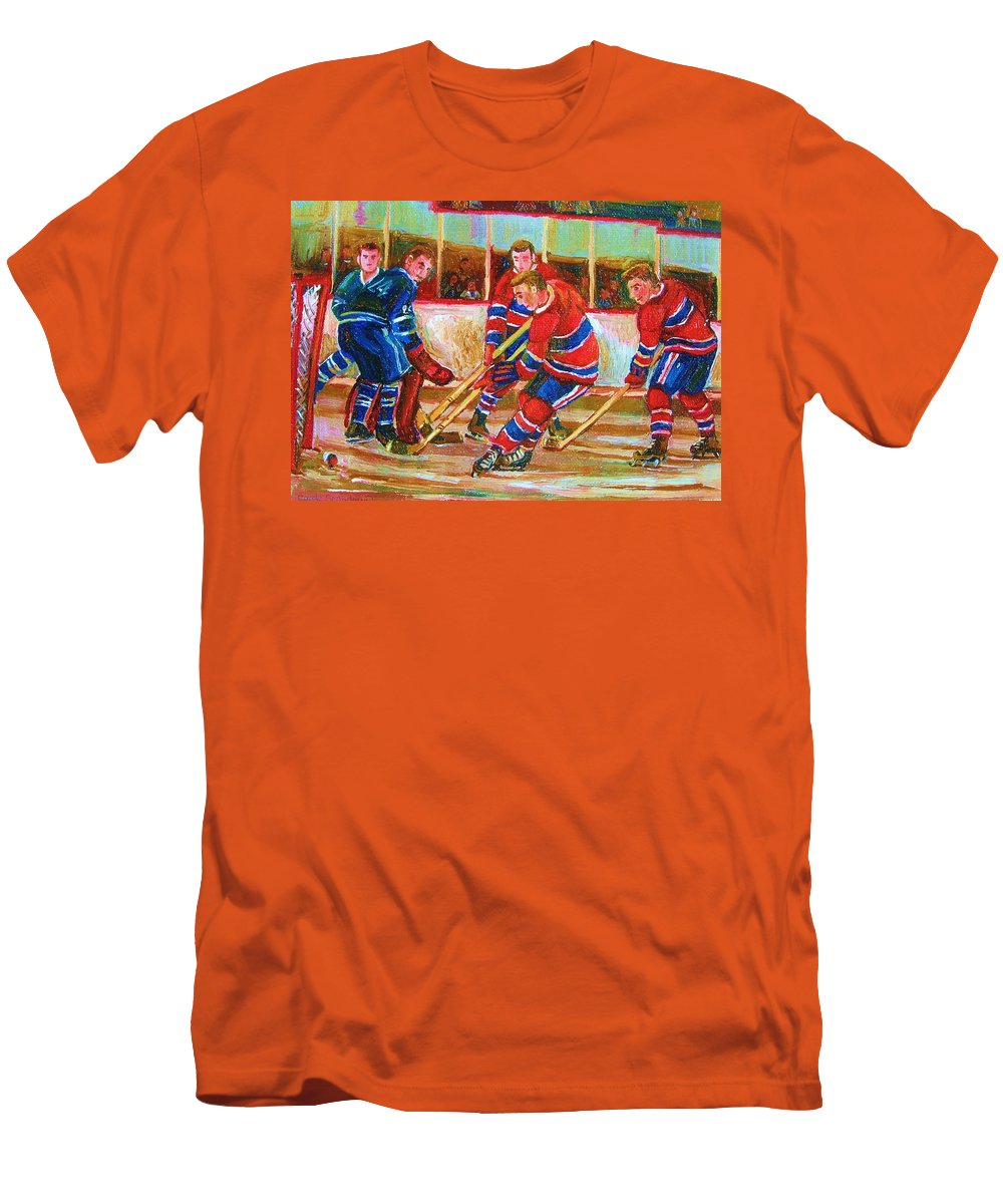 Hockey Men's T-Shirt (Athletic Fit) featuring the painting He Shoots  He Scores by Carole Spandau