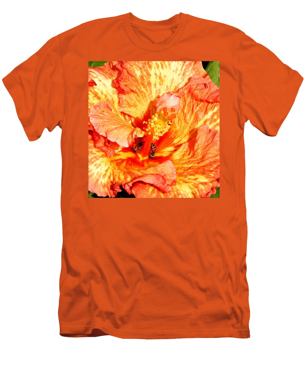 Bees Men's T-Shirt (Athletic Fit) featuring the photograph Hibiscus And Bees by Anthony Jones