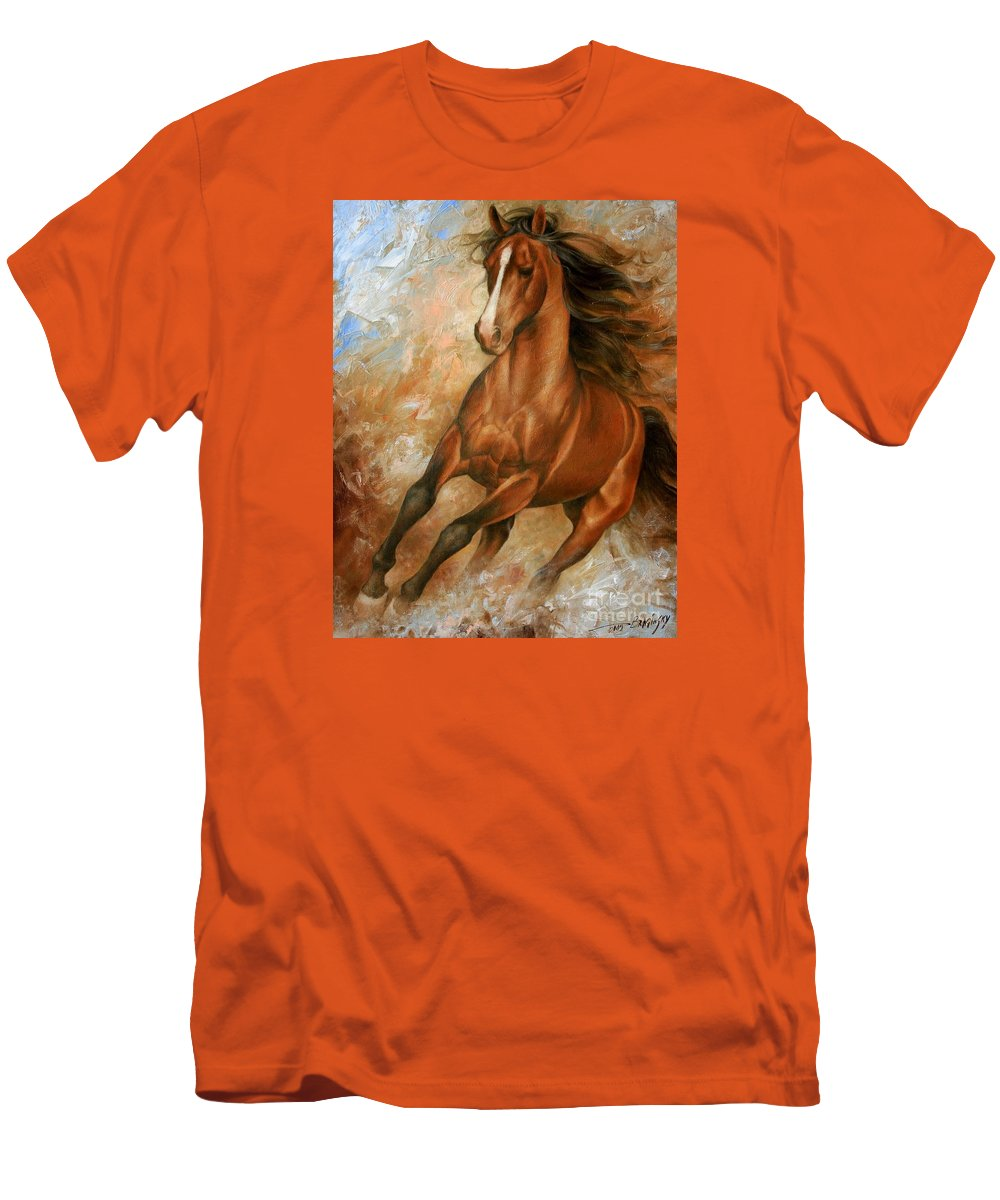 Horse Men's T-Shirt (Athletic Fit) featuring the painting Horse1 by Arthur Braginsky