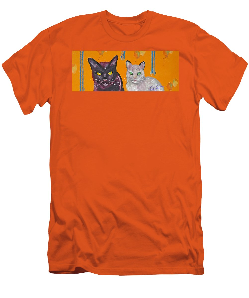 Cat Men's T-Shirt (Athletic Fit) featuring the painting House Cats by Charles Stuart