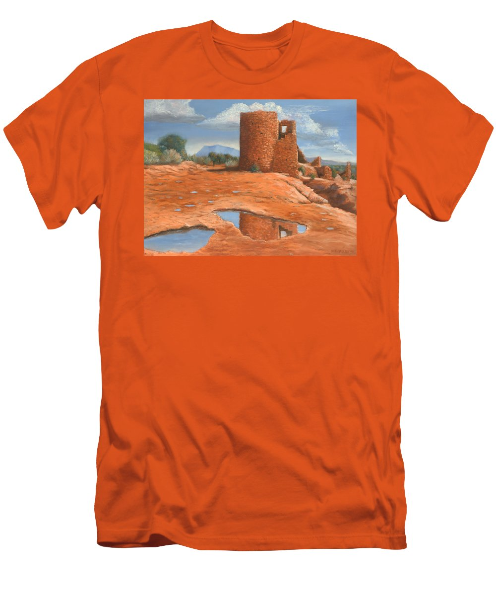 Anasazi Men's T-Shirt (Athletic Fit) featuring the painting Hovenweep Reflection by Jerry McElroy