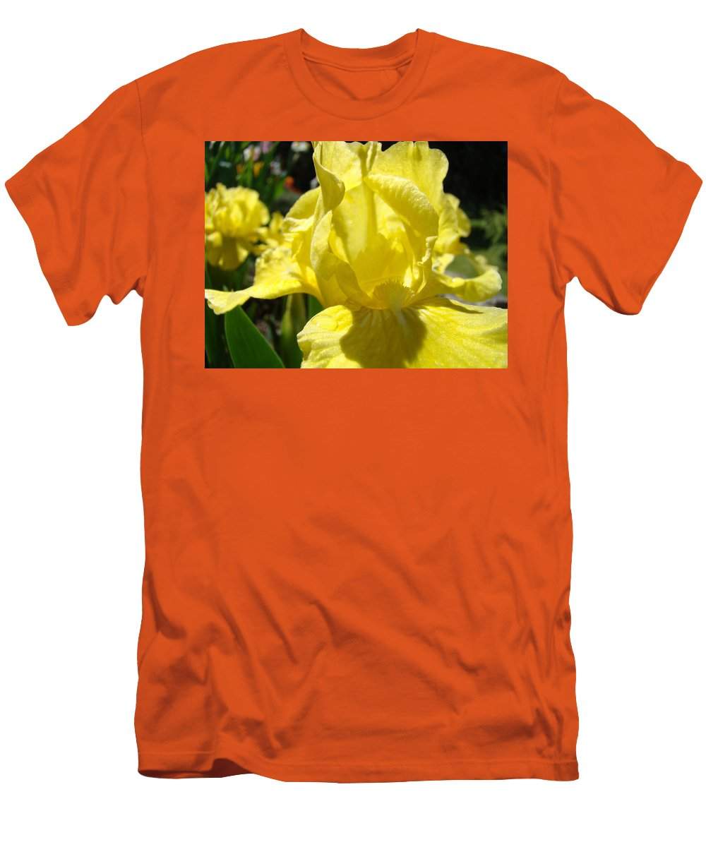 �irises Artwork� Men's T-Shirt (Athletic Fit) featuring the photograph Irises Yellow Iris Flowers Floral Art Prints Botanical Garden Artwork Giclee by Baslee Troutman