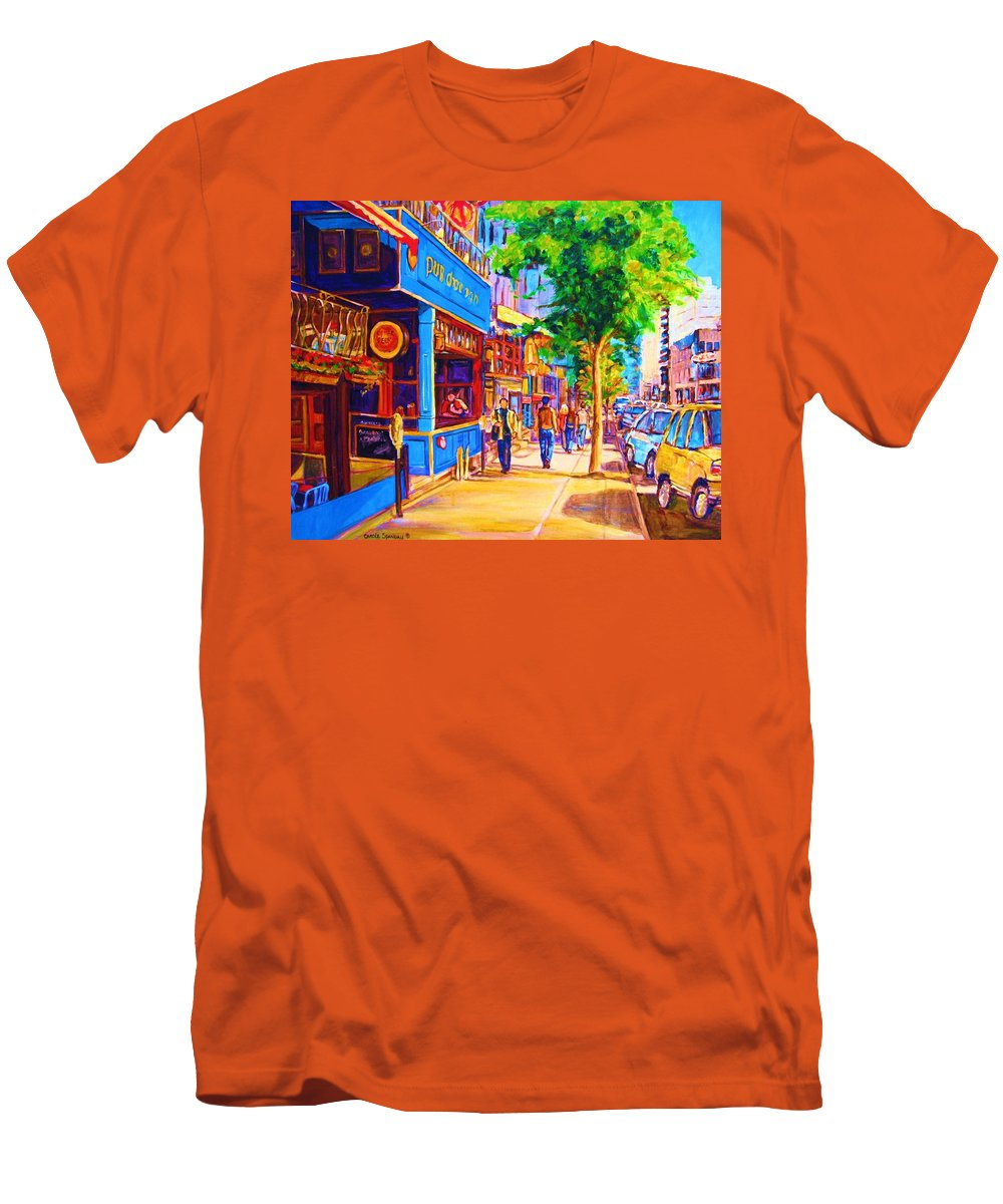 Irish Pub On Crescent Street Montreal Street Scenes Men's T-Shirt (Athletic Fit) featuring the painting Irish Pub On Crescent Street by Carole Spandau