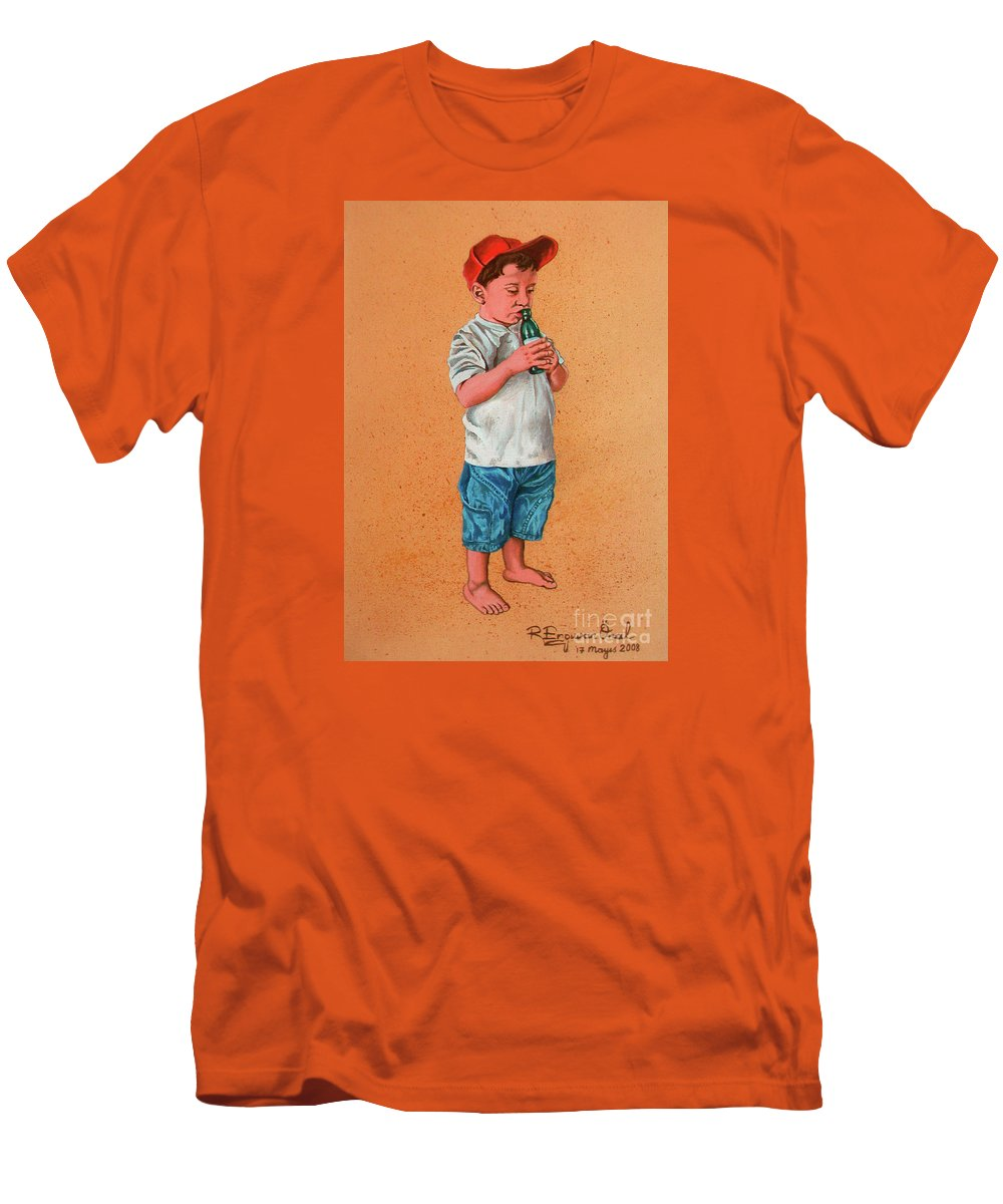 Summer Men's T-Shirt (Athletic Fit) featuring the painting It's A Hot Day - Es Un Dia Caliente by Rezzan Erguvan-Onal