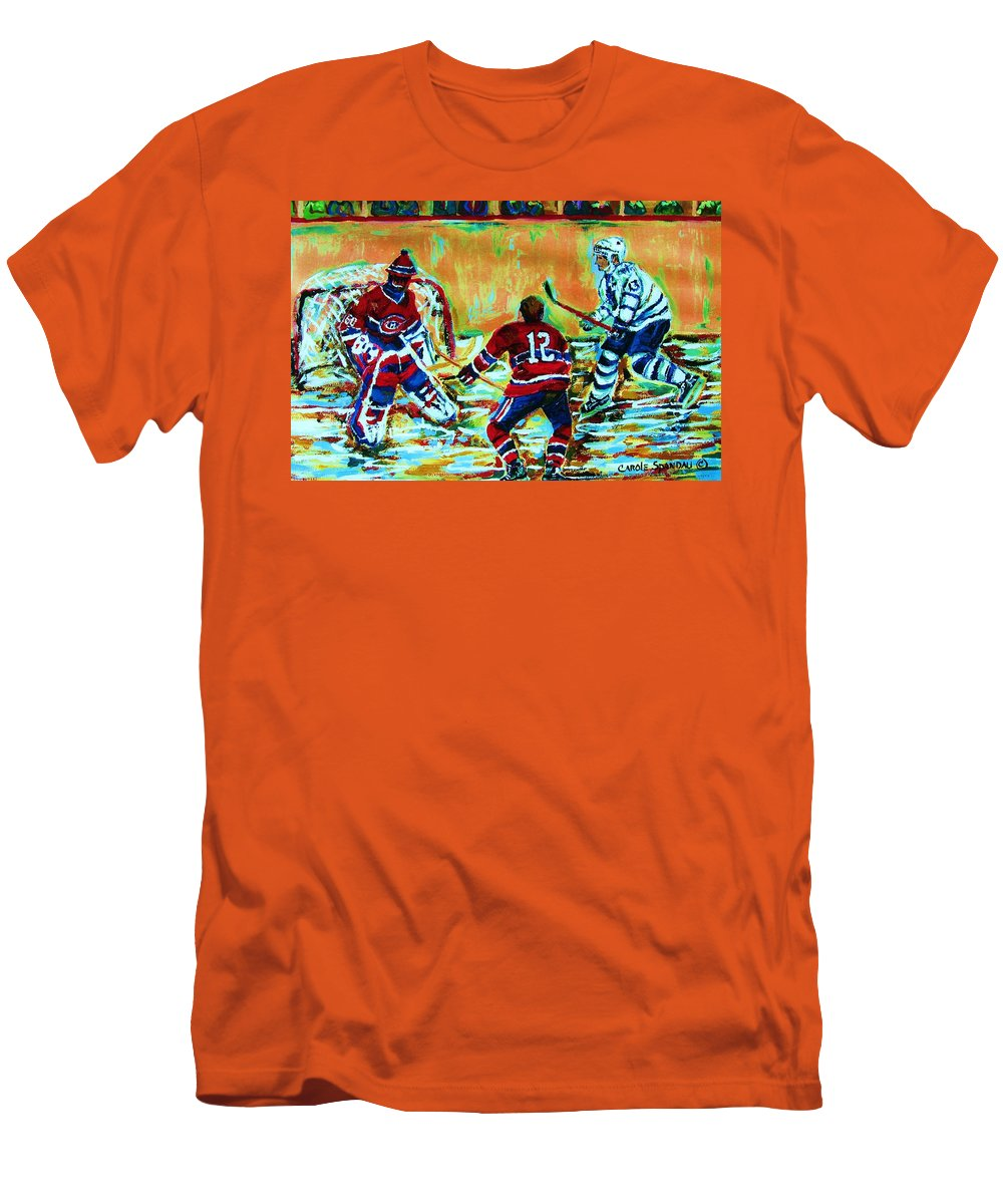Hockey Canvas Prints Men's T-Shirt (Athletic Fit) featuring the painting Jose Theodore The Goalkeeper by Carole Spandau