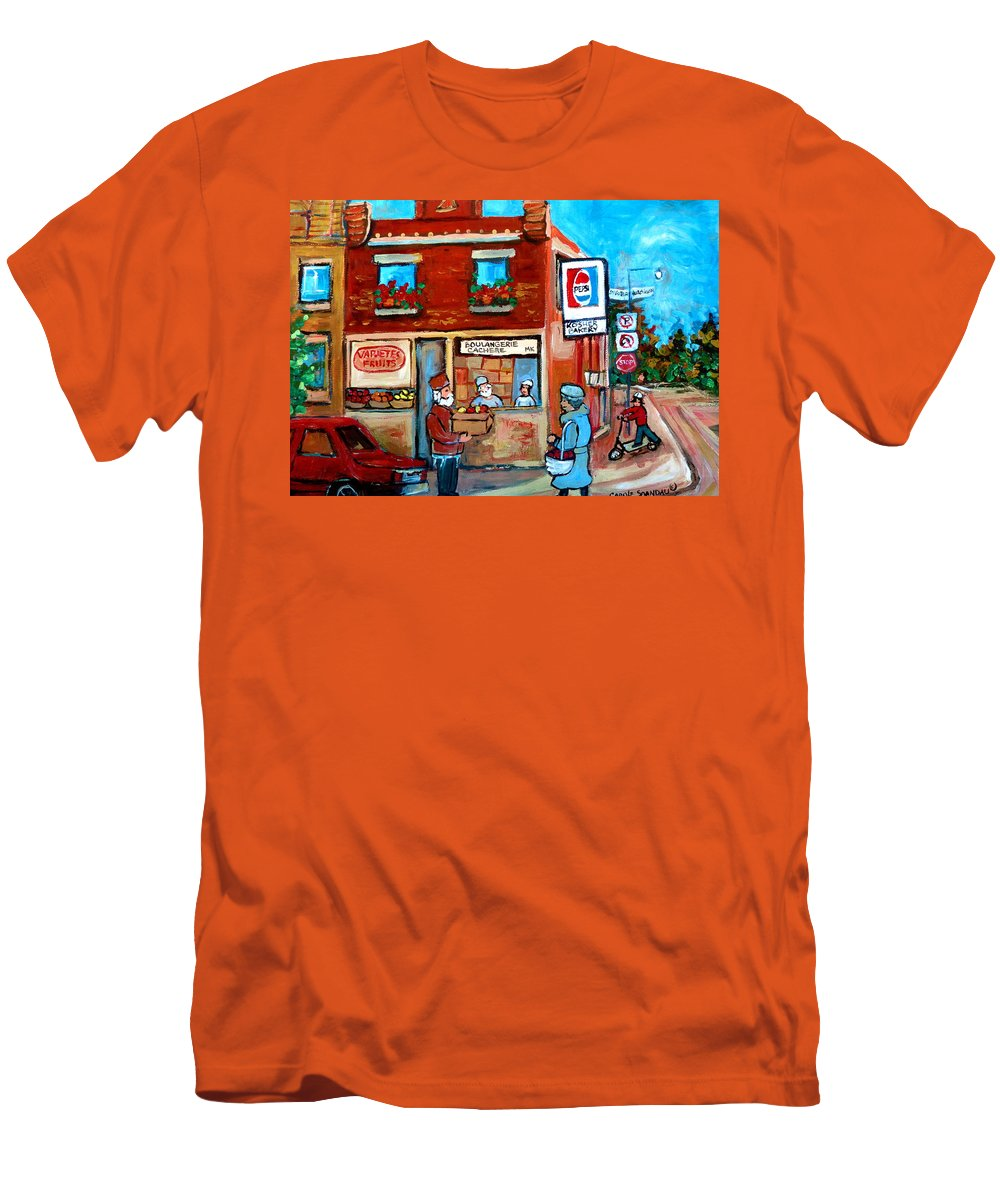 Kosher Bakery Men's T-Shirt (Athletic Fit) featuring the painting Kosher Bakery On Hutchison Street by Carole Spandau