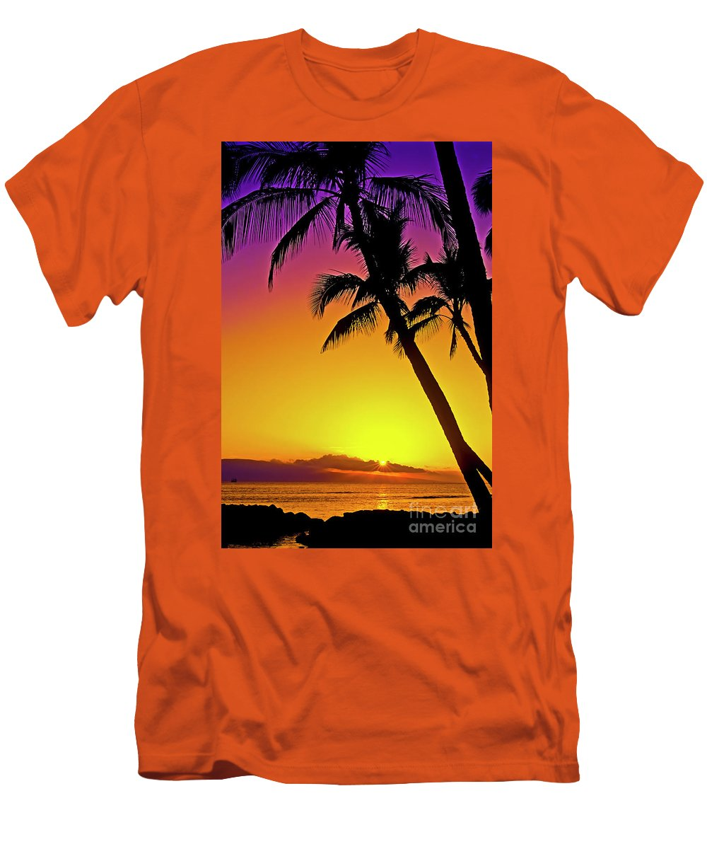 Sunset Men's T-Shirt (Athletic Fit) featuring the photograph Lanai Sunset II Maui Hawaii by Jim Cazel