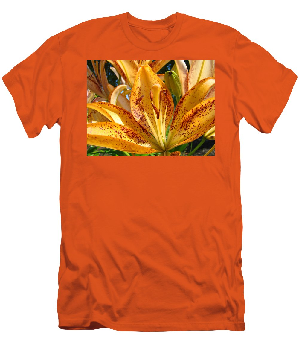 Lilies Men's T-Shirt (Athletic Fit) featuring the photograph Lilies Art Prints Orange Lily Flowers 2 Gilcee Prints Baslee Troutman by Baslee Troutman