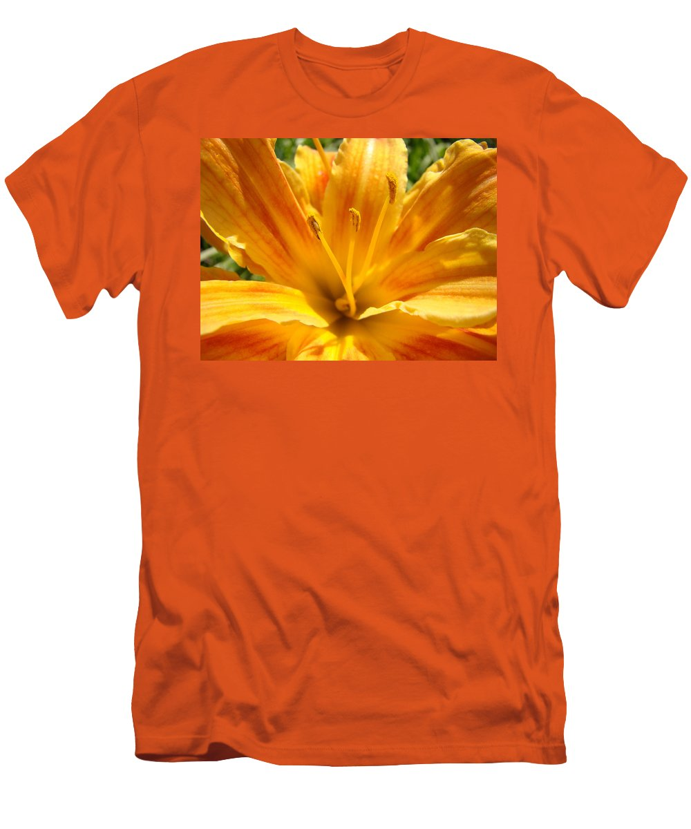 Lilies Men's T-Shirt (Athletic Fit) featuring the photograph Lilies Orange Yellow Lily Flower 1 Giclee Art Prints Baslee Troutman by Baslee Troutman