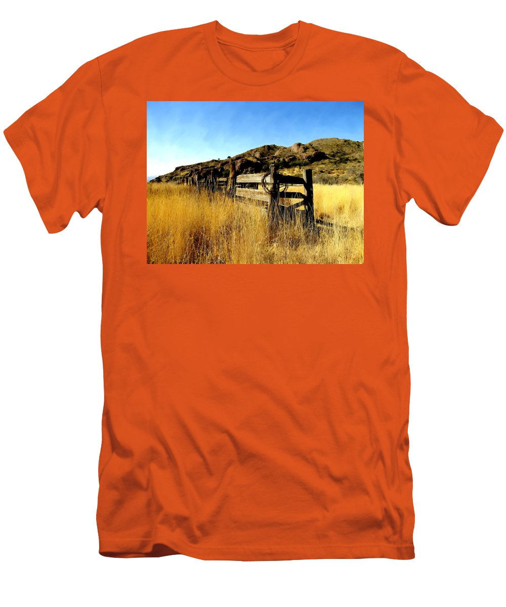 Southwestern Men's T-Shirt (Athletic Fit) featuring the photograph Livery Fence At Dripping Springs by Kurt Van Wagner