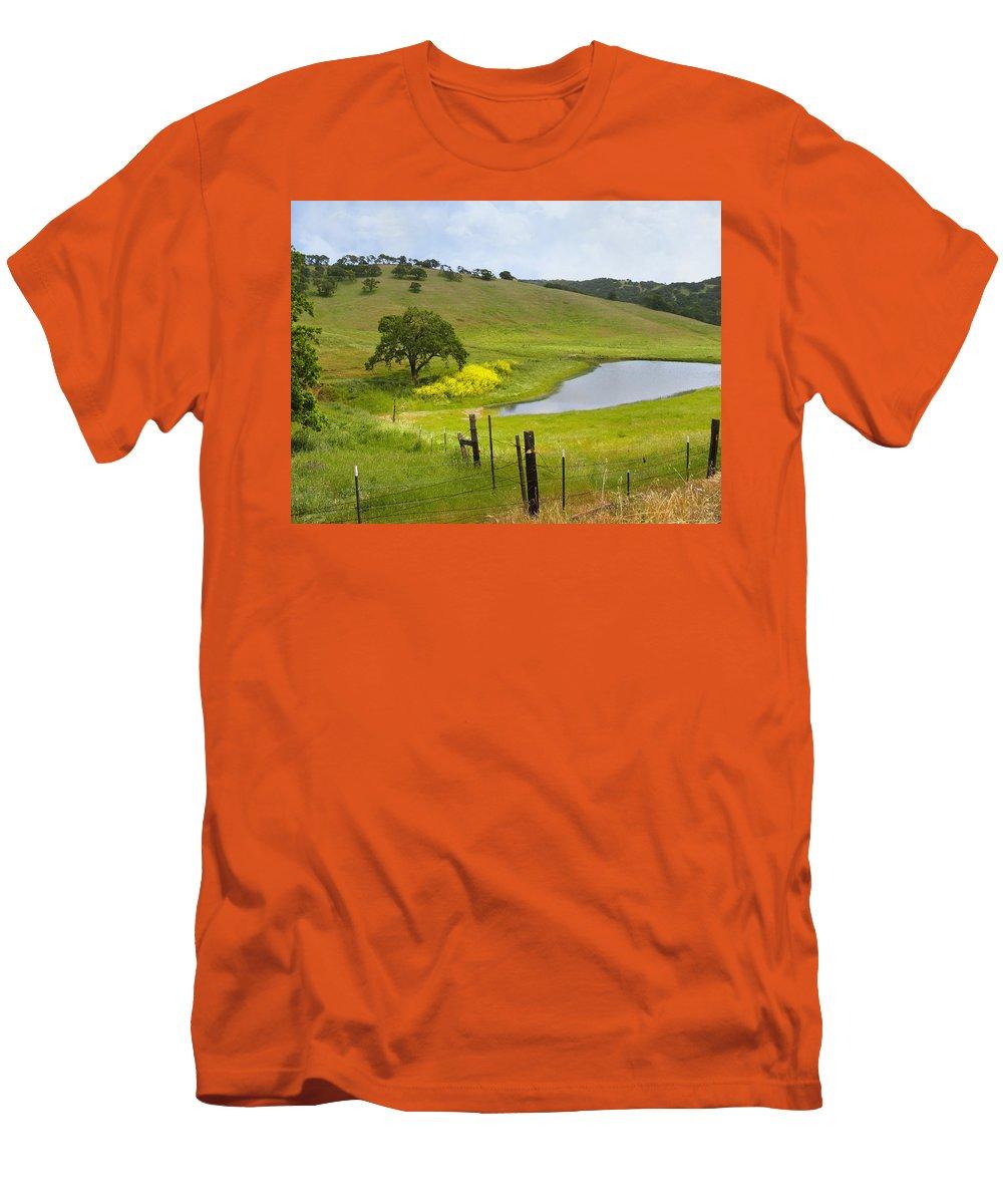 Landscape Men's T-Shirt (Athletic Fit) featuring the photograph Marsh Creek Road by Karen W Meyer