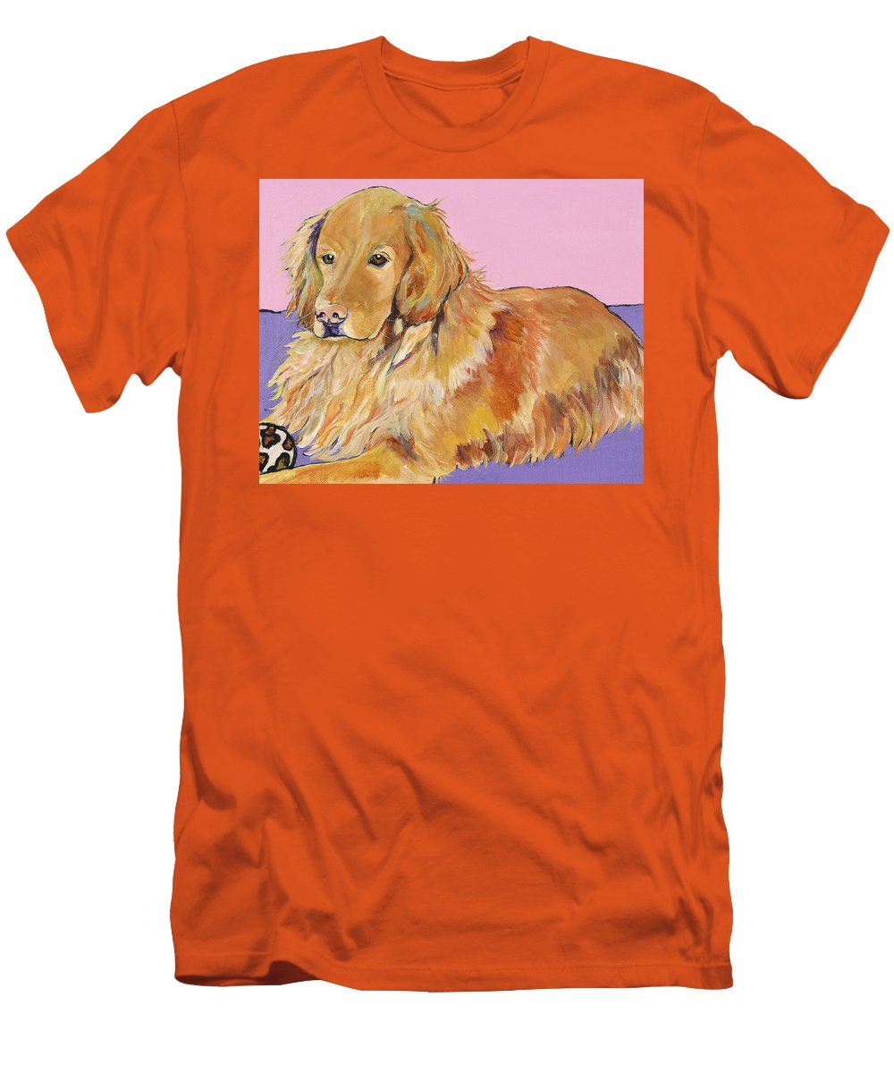 Golden Retriever Men's T-Shirt (Athletic Fit) featuring the painting Maya by Pat Saunders-White