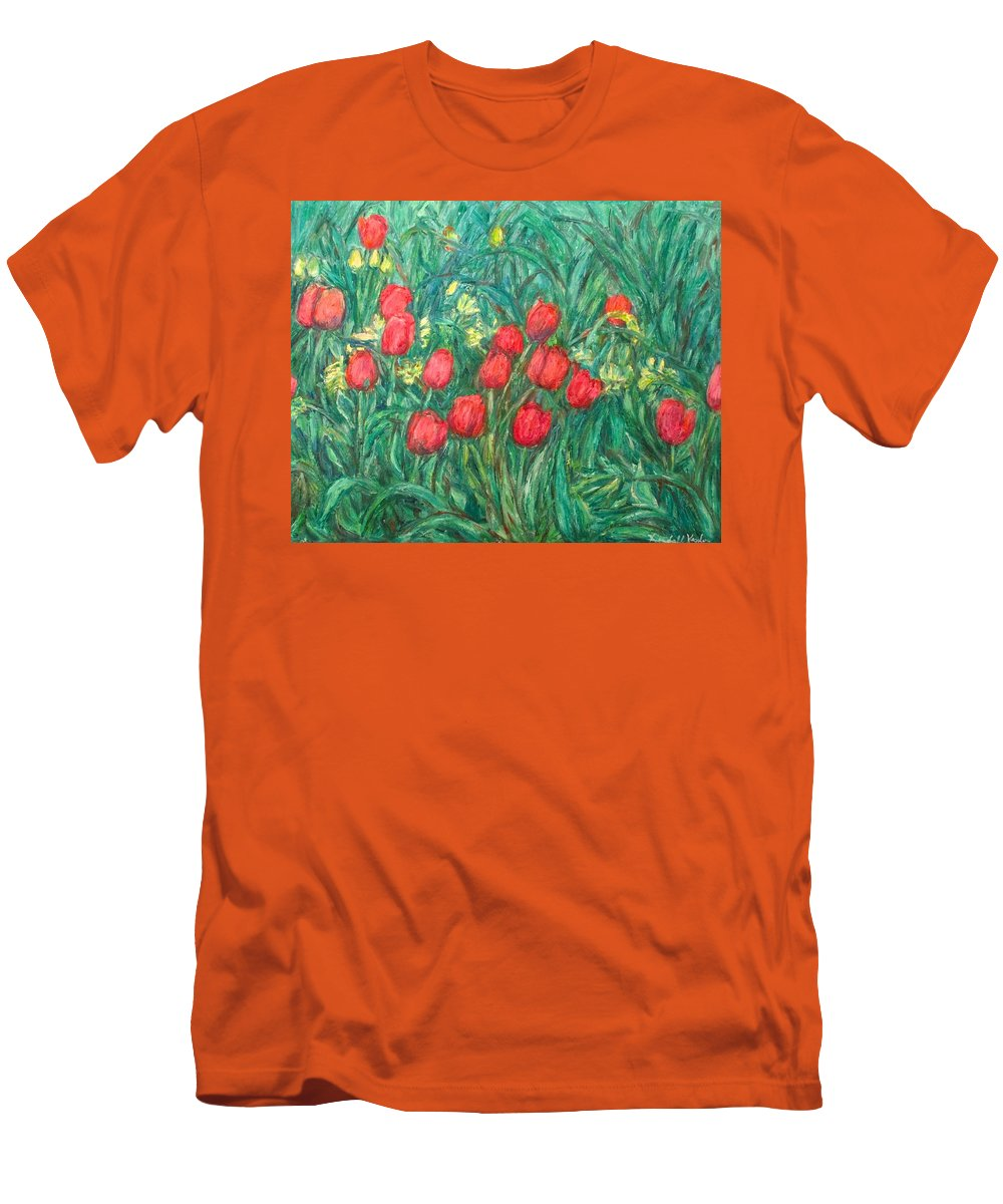 Kendall Kessler Men's T-Shirt (Athletic Fit) featuring the painting Mostly Tulips by Kendall Kessler