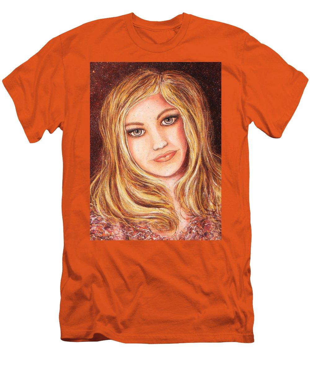 Self Portrait Men's T-Shirt (Athletic Fit) featuring the painting Natalie Self Portrait by Natalie Holland