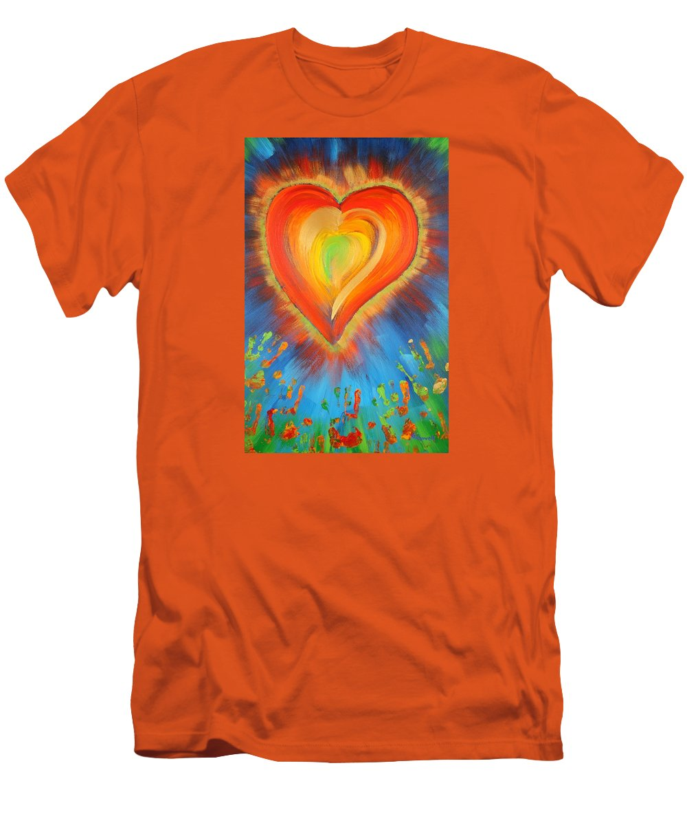 Heart Men's T-Shirt (Athletic Fit) featuring the painting New Heart by Gary Rowell