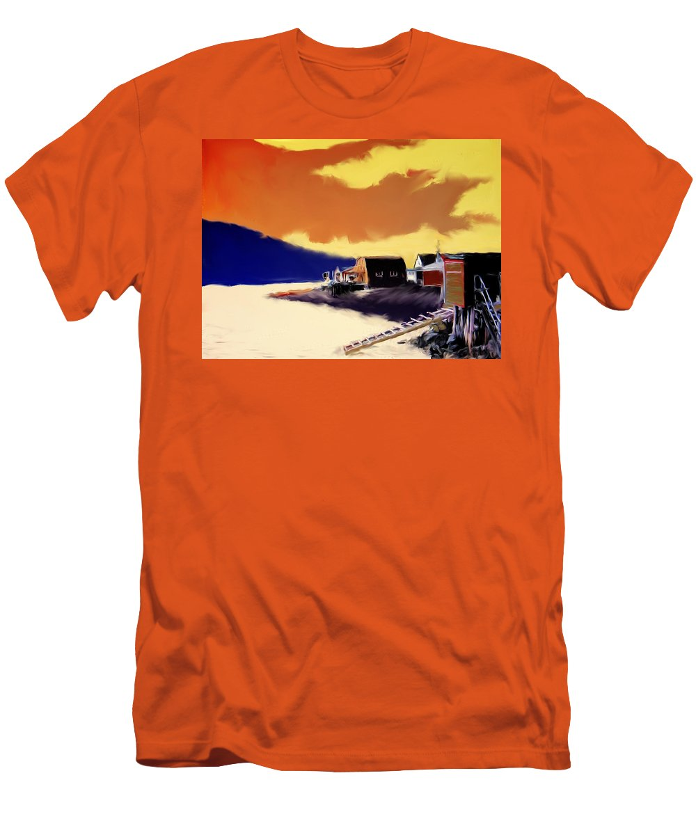 Newfoundland Men's T-Shirt (Athletic Fit) featuring the photograph Newfoundland Fishing Shacks by Ian MacDonald