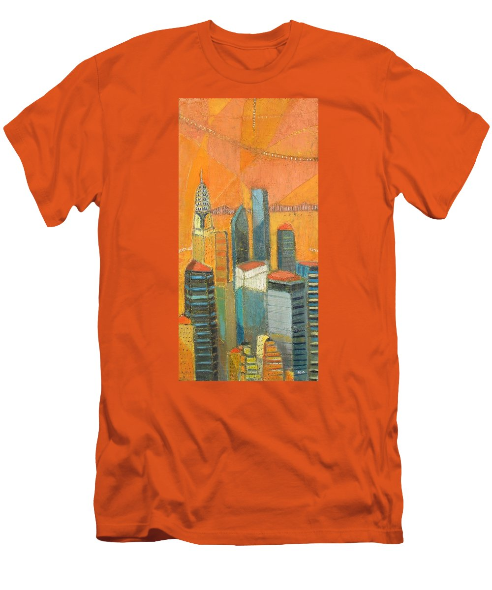 Men's T-Shirt (Athletic Fit) featuring the painting Nyc In Orange by Habib Ayat
