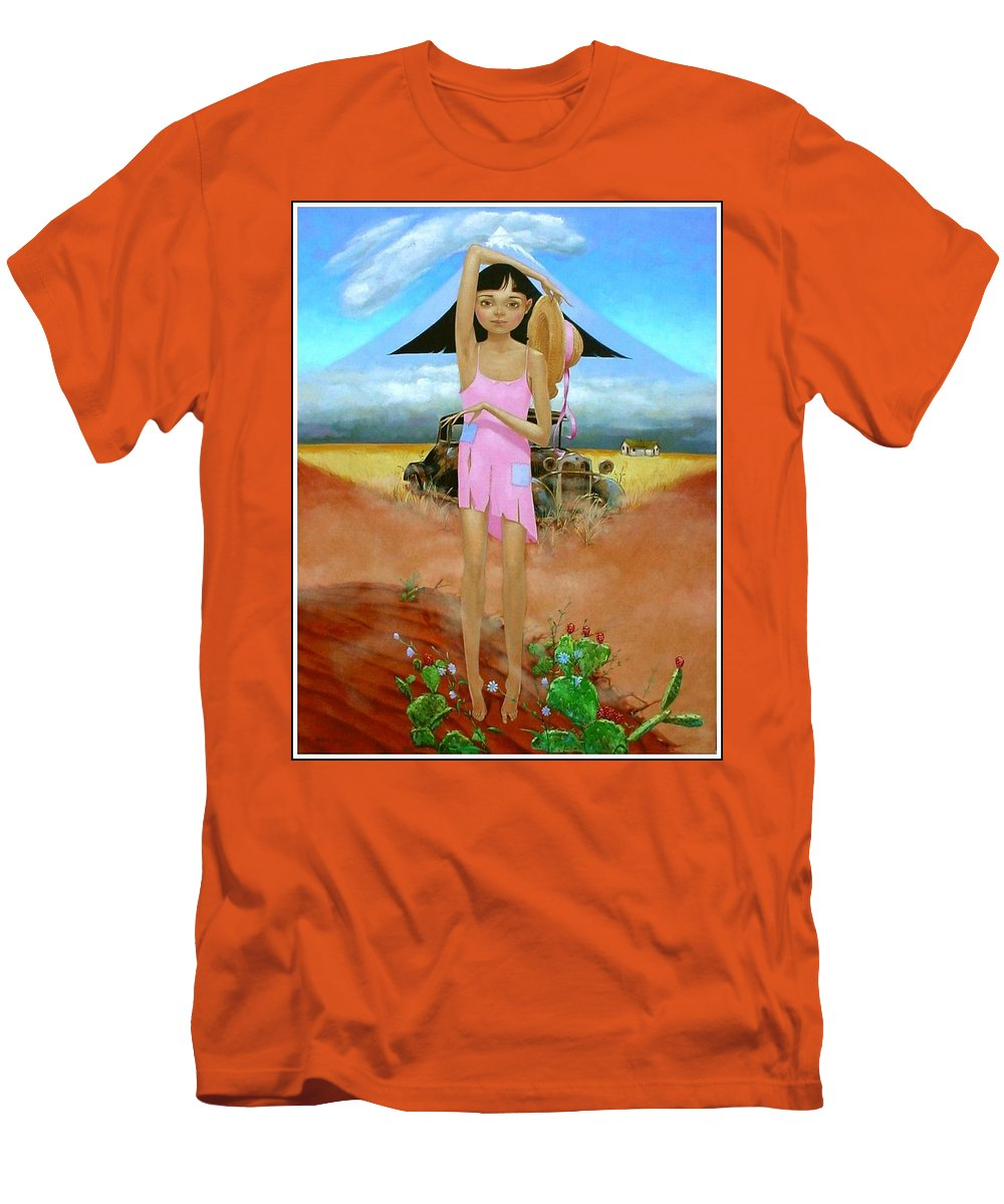 Country Girl Men's T-Shirt (Athletic Fit) featuring the painting Oklahoma Girl With Mt.fuji by Jerrold Carton
