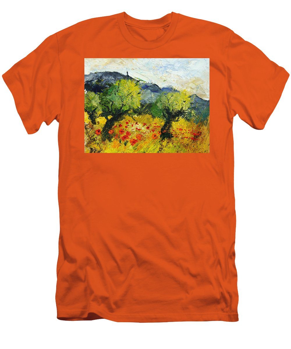 Flowers Men's T-Shirt (Athletic Fit) featuring the painting Olive Trees And Poppies by Pol Ledent