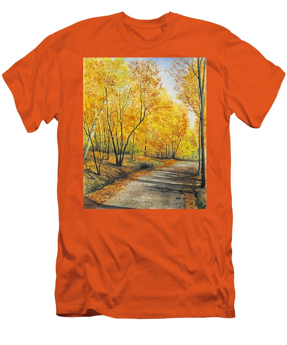 Autumn Men's T-Shirt (Athletic Fit) featuring the painting On Golden Road by Mary Tuomi