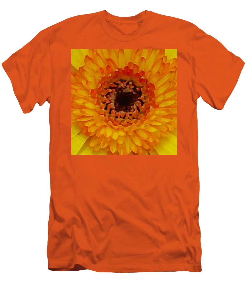 Daisy Men's T-Shirt (Athletic Fit) featuring the painting Orange And Black Gerber Center by Amy Vangsgard