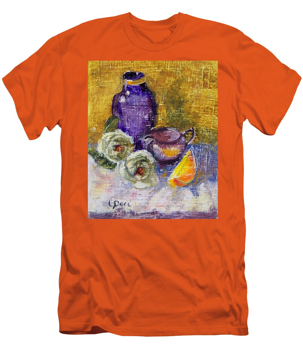 Vase Men's T-Shirt (Athletic Fit) featuring the painting Orange Reflection by Laurie Paci