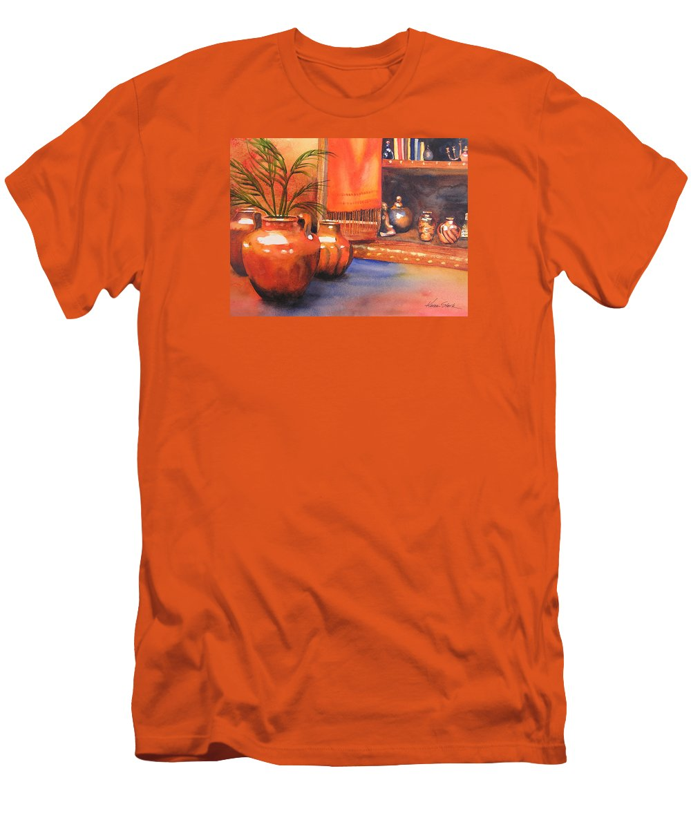 Pottery Men's T-Shirt (Athletic Fit) featuring the painting Orange Scarf by Karen Stark