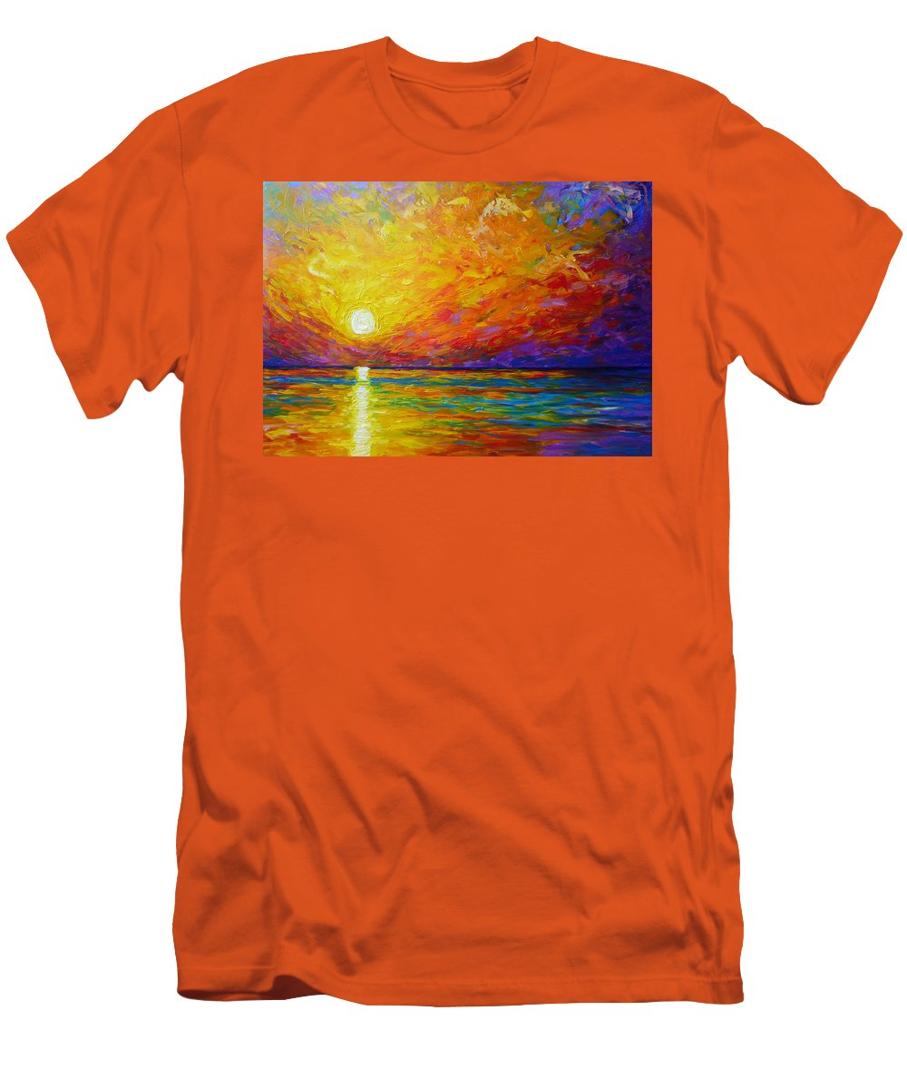 Landscape Men's T-Shirt (Athletic Fit) featuring the painting Orange Sunset by Ericka Herazo