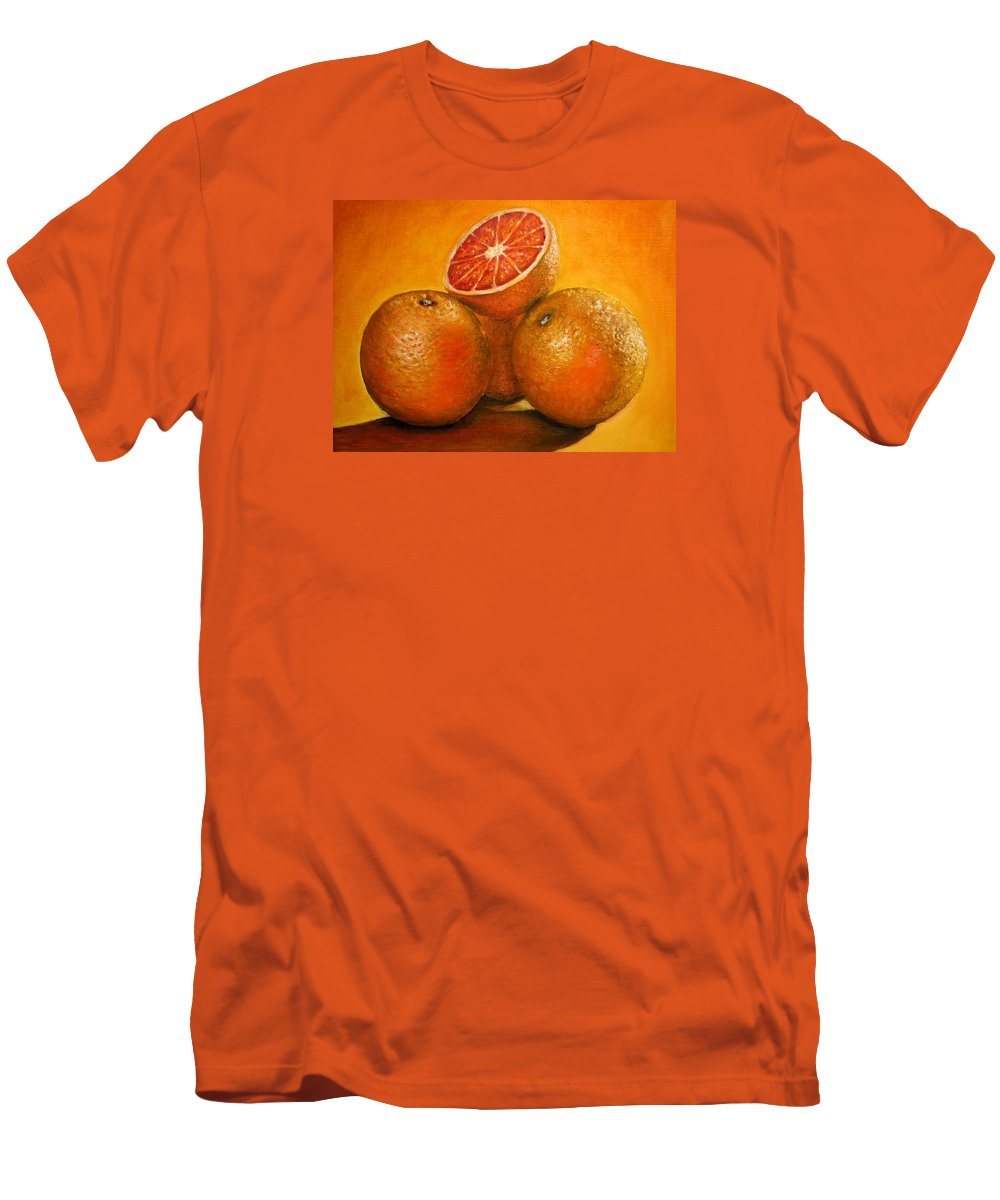 Oranges Men's T-Shirt (Athletic Fit) featuring the painting Oranges Original Oil Painting by Natalja Picugina
