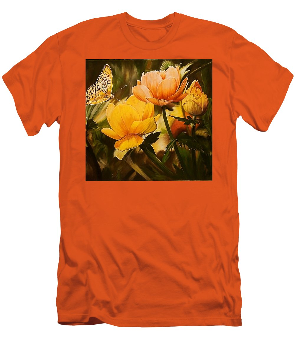 Acrylic Men's T-Shirt (Athletic Fit) featuring the painting Out Of The Dark by Sheryl Gallant